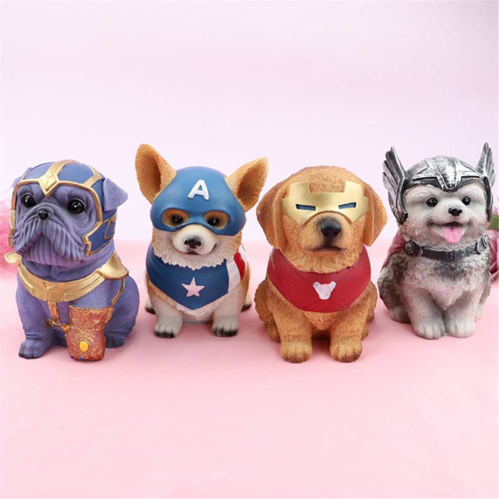 Creative Funny Dog Piggy Bank Marvel Avengers Money Saving Box Coin Box Home Decoration Crafts Birthday Gifts For Kids
