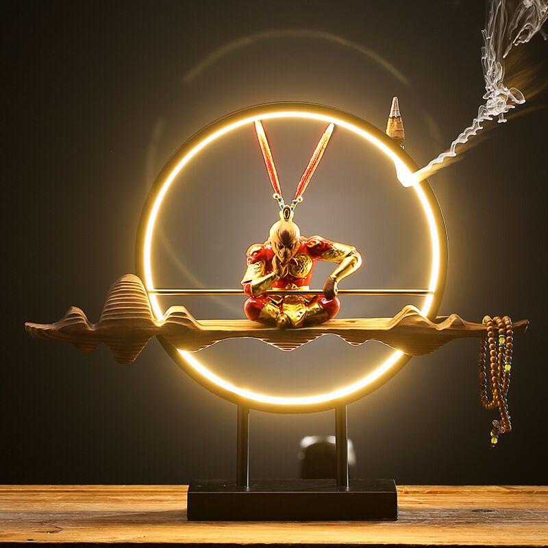 Chinese Zen Layout Living Room Sun Wukong Backflow Incense Burner Desktop Decoration Home Decoration Accessories