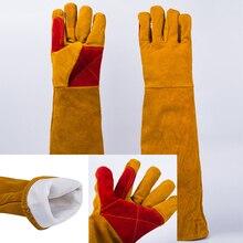 60cm Langen Ärmeln Schweißen Handschuhe Tragen-Hitzebeständige Herd Feuer BBQ/Camping/CookG9L6 für Tig /Mig Schweißer/Gartenarbeit