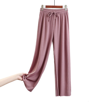 New Casual High Waist Trousers Solid Color Elastic Pants Women