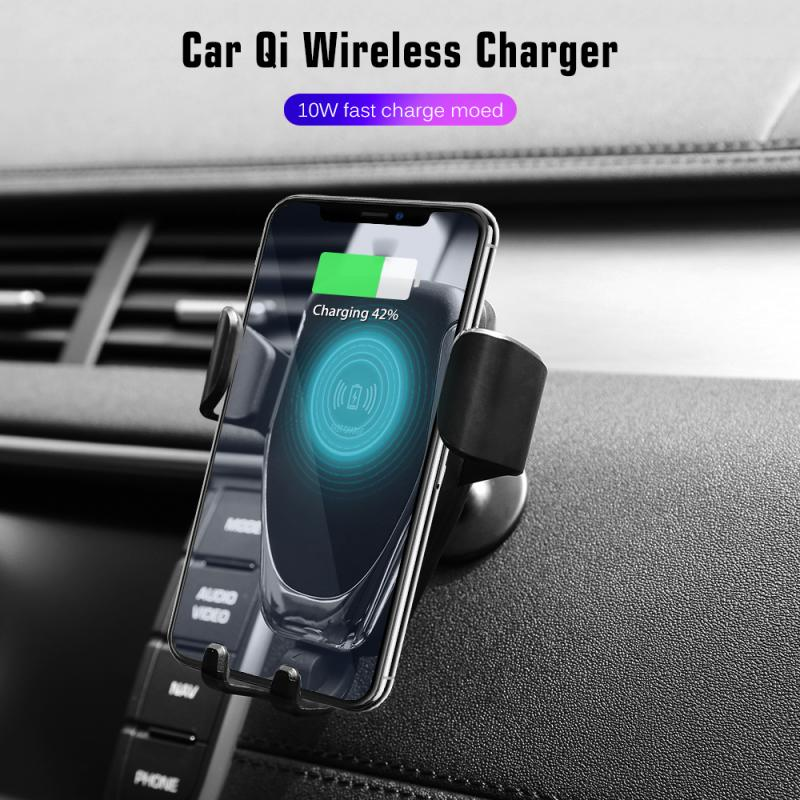 US $7.35 36% OFF|FDGAO Qi Car Mount Fast Wireless Charger For iPhone 11 Pro XS MAX XR 8 X 10W Car Wireless Charging Stand For Samsung S9 S10