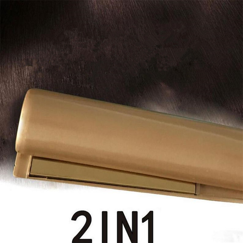 2 In 1 Gold Twist Hair Curling & Straightening Iron Hair Straightener Hair Curler Wet & Dry Hair Styler Professional 20#820