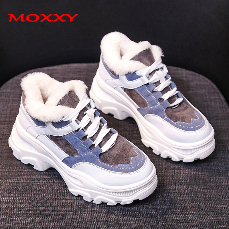 Retro Women's Winter Sneakers Warm Fur Chunky Sneakers Platform Beige Blue Plush Casual Shoes Woman Thick Sole Ladies Sneakers