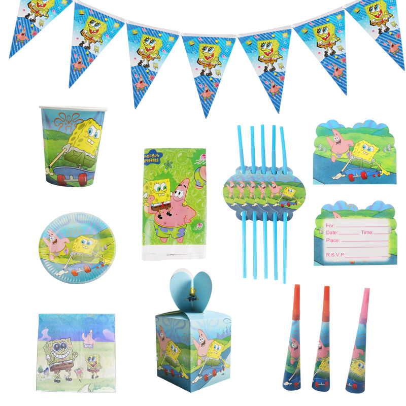 Cartoon Spongebob Balloons Party Supplies Paper Straw Paper Plate Cup Flag Kids Birthday Party Decorations Baby Shower Favor