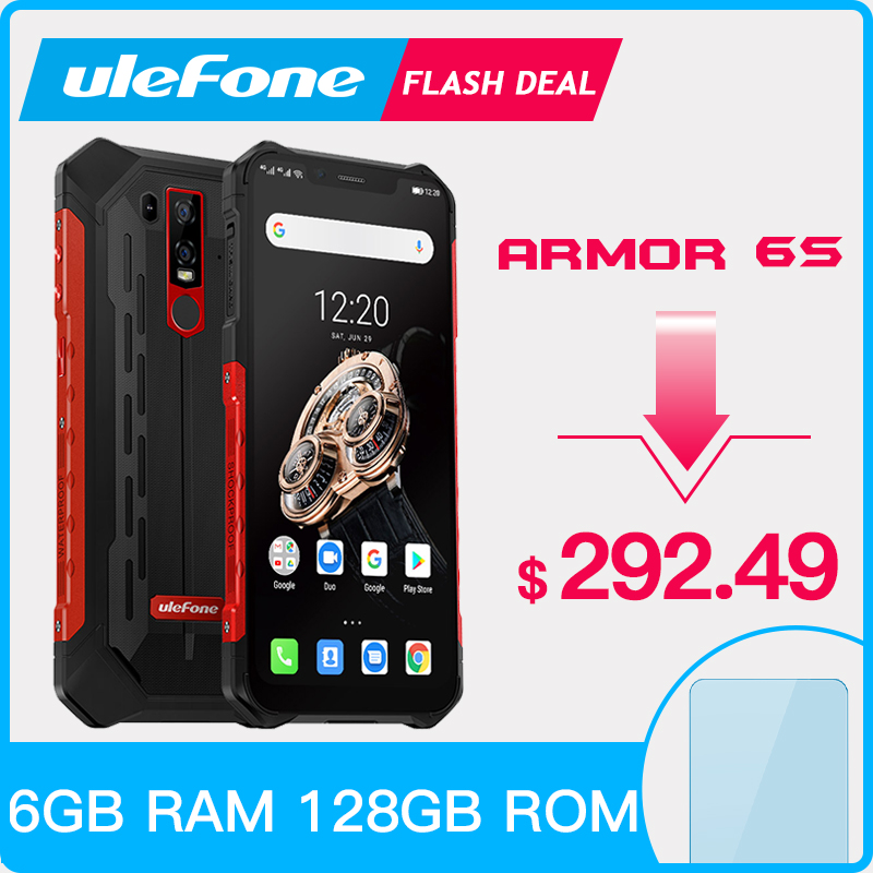 Ulefone armadura 6 s impermeável ip68 nfc robusto telefone móvel helio p70 otca-core android 9.0 6 gb + 128 gb smartphone versão global