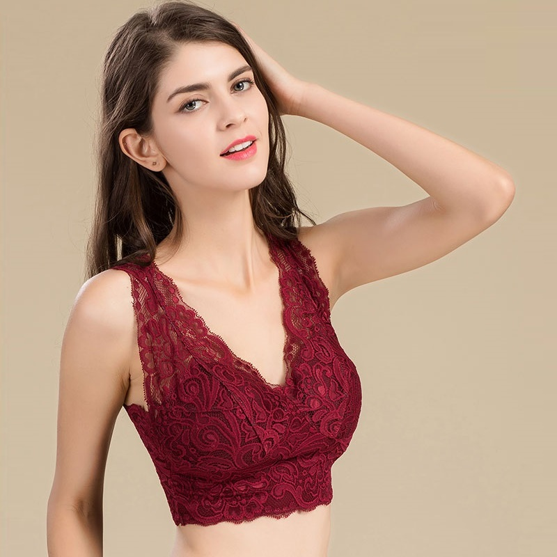 100% reine Seide Frauen BHs (aber Spitze) Frauen sexy Spitze Geschirr dünn mit Brustpolstern gewickelt weiblich ohne Stahlring BH Frau