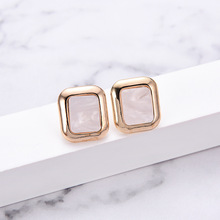 NJ Simple Fashion Square Geometric Stud Earrings For Woman Classic White Brown Color Female Party Jewelry
