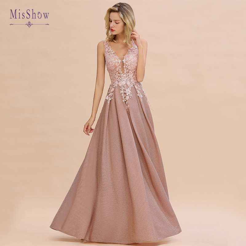 2019 New Long Lace Evening Dresses Vestidos Elegantes Applique A-line Bride Party Formal Prom Dresses Vestido De Festa
