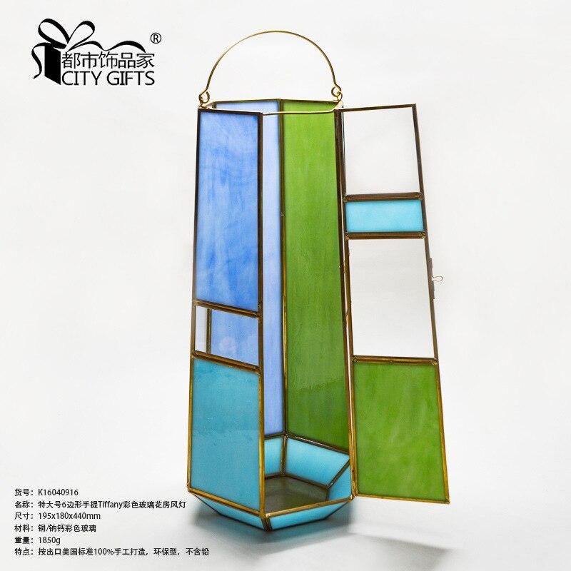 Lanterne de couleur de serre en verre de couleur de main de 6 côtés de décoration à la maison de lanterne de couleur K16040916 - 3