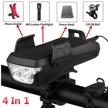 Multi-function Bicycle Light USB Rechargeable LED Bike Head Lamp Bike Horn Phone Holder Powerbank BMX MTB Cycling Front Light