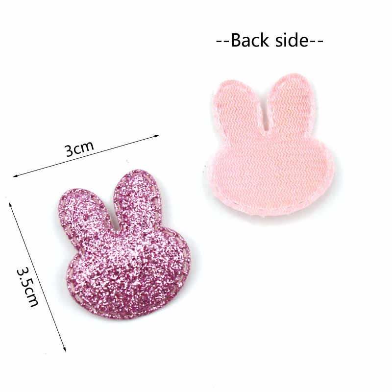 40 Uds 3*3,5 cm parches con forma de cabeza de conejo brillante apliques acolchados para niños BB Clip suministros de costura DIY artesanía decoración al por mayor