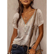 Summer V-Neck T-Shirts Temperament Commuter Print Pullover Top Lady T Shirt Casual Sexy Short Sleeve for Women Tops Tee