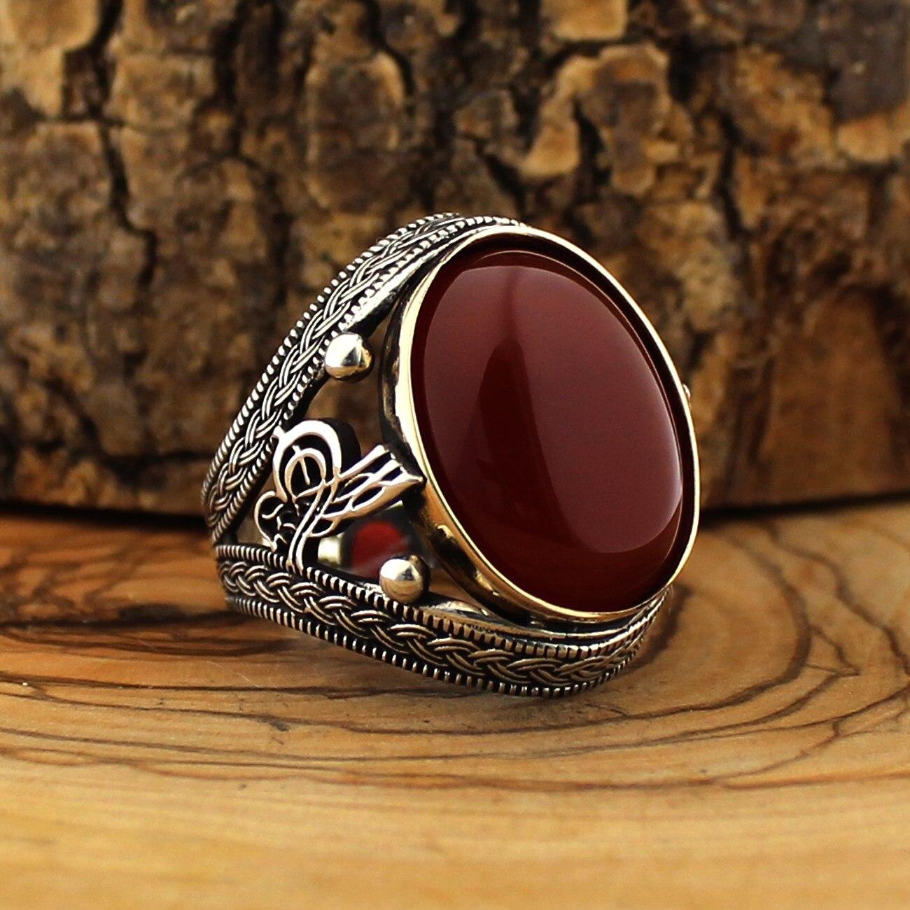 925 bague en argent Sterling pour hommes rouge Aqeq pierre bijoux mode vintage Onyx Zircon cadeau hommes anneaux toutes les tailles (fabriqué en turquie)