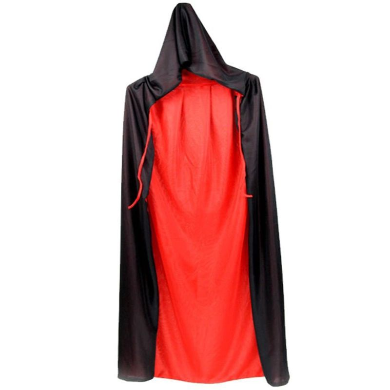 Adult Kids Unisex Hooded Stand Collar Vampire Cloak Halloween Double Layer Reversible Cape For Party Supplies Cosplay Costume