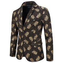 PUIMENTIUA 2019 Men Blazer Floral Printed Slim Fit Single Button Mens Suit Jacket Outerwear Coat Americana Hombre