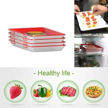 4PCS Clever Tray Creative Food Preservation Tray Plastic Food Storage Container Set Food Fresh Storage Microwave Cover 1/2/3/4PC