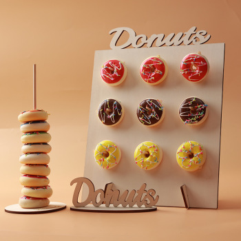 Creative Wooden Donuts Holder Bar Wall Wedding Birthday Party Decorative Table Display Stand image