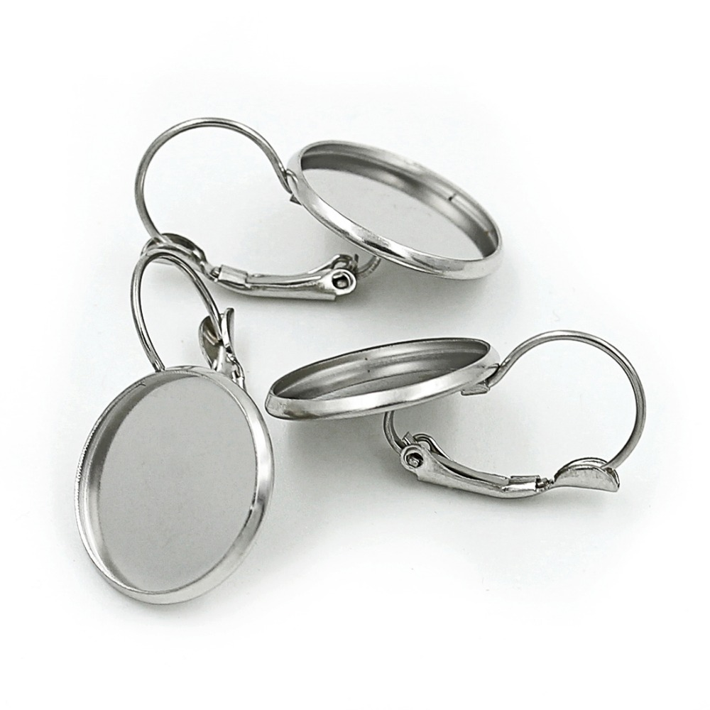 10pcs/lot Stainless Steel Blank French Lever Earring Setting Tray Cabochon Setting Cameo Base Jewelry  8/10/12/14/16/18/20mm