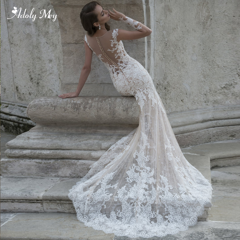 Adoly Mey Romantic Scoop Neck Long Sleeve Lace Mermaid Wedding Dresses 2020 Gorgeous Appliques Court Train Trumpet Bridal Gown Aliexpress,Nice Dresses For Traditional Wedding