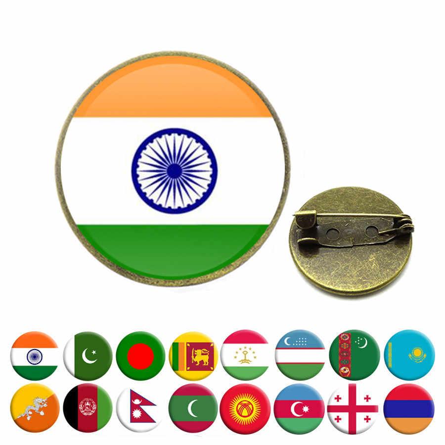 Personalizzare Bandiera Nazionale Spille India Pakistan Sri Lanka Bhutan Nepal Uzbekistan Armenia Georgia Maldive Spilla Spilli Gioielli