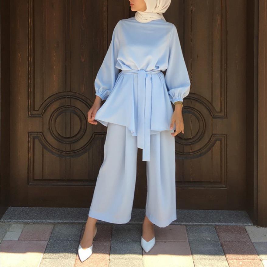 Aid Mubarek Two pieces Muslim Sets Abaya Turkey Hijab Dress Caftan Kaftans Islam Clothing Abayas For Women Musulman Ensembles