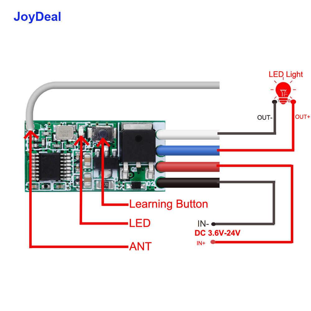 433 Mhz inalámbrico Micro Control remoto interruptor de CC 5V 9V 12V 24V RF relé LED controlador de luz Mini receptor transmisor de Panel de pared