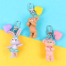 2019 New Arrival 3D rabbit cub Keychain Cute Key Ring for Women Girl Kids Cartoon Doll Car Keyring Craft Gifts