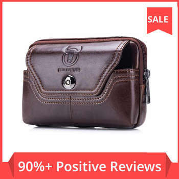 high quality genuine leather men hip bum belt purse fanny pack pouch mini cell mobile phone pocket cigarette case hook waist bag BULLCAPTAIN Phone Cigarette Purse Fanny Pack Waist Bag Leather Hip Bum Money Belt Bag Waist Packs Men Belt Pouch Bags