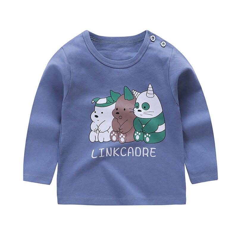 От 6 месяцев до 5 лет унисекс; сезон осень-зима; хлопковая футболка с длинными рукавами и героями мультфильмов; футболки для маленьких мальчиков и девочек; детская повседневная одежда; одежда с круглым вырезом - Цвет: F027
