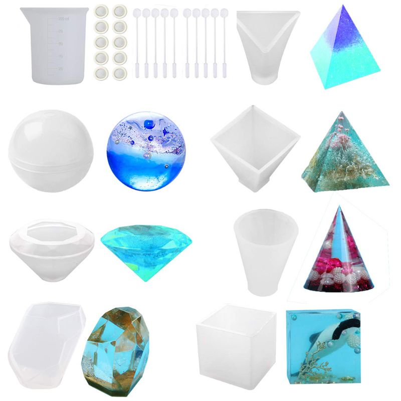 Resin Epoxy Jewelry Making 3 Packs Clear Large Multi-Faceted Diamond Stone Jewelry Mould DIY Spherical Silicone Transparent Round Mold Making Tool for Polymer Clay Crafting