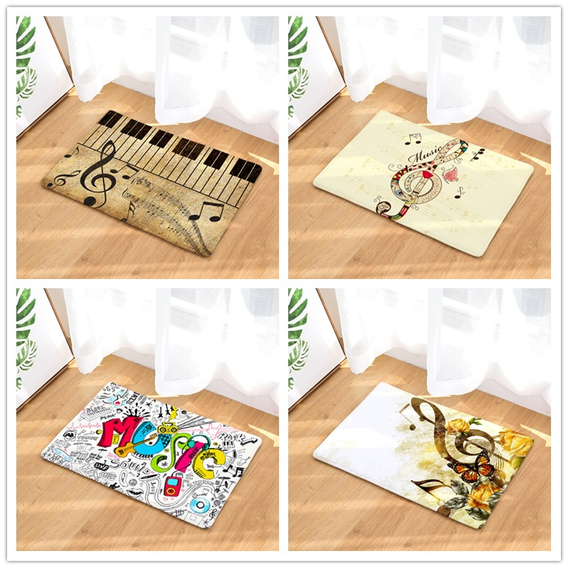 Home Textile Flannel Mats Musical Note Printed Kids Surprise Gift Doormats Area Rug Kitchen Anti-slip Carpet Bathroom Pad Mats