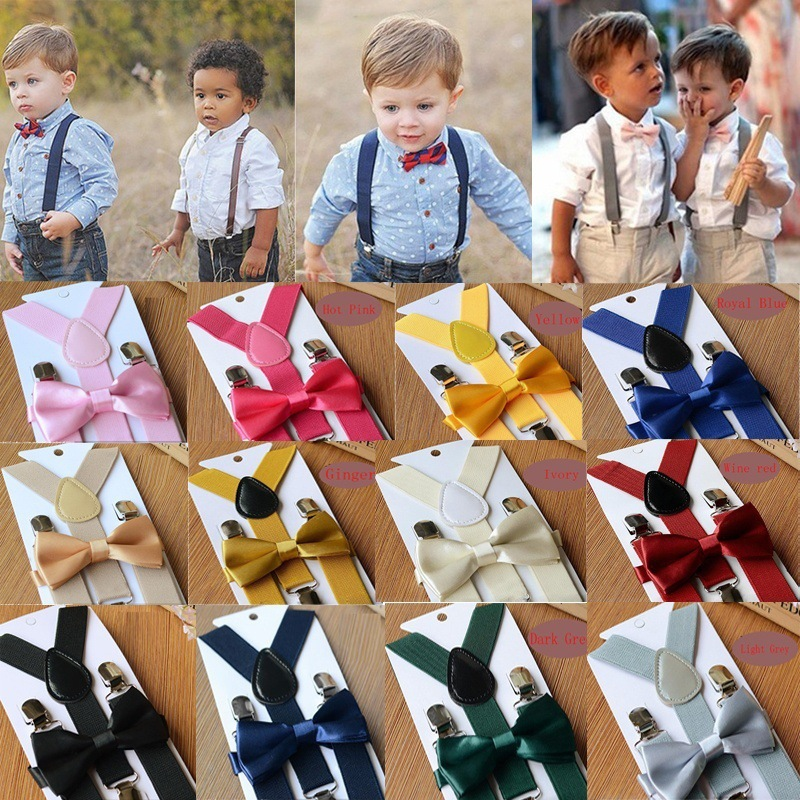Baby High Elastic Bow Ties Set Child Wedding Matching Braces Suspenders Solid Color Bowknot Kids Gentle Bow Ties With Metal Clip