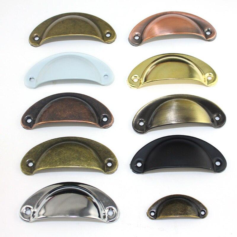 Retro Metal Kitchen Drawer Cabinet Door Handle Furniture Knobs Handware Cupboard Antique Brass Shell Pull Handles