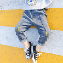 1-8T Toddler Kid Baby Boys Jeans Autumn Winter Warm Bottoms Fashion Denim Pants Streetwear Dinosaur Print Cute Children Trousers
