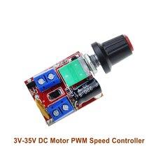Mini geniş gerilim DC Motor PWM vali 3V 6 12 24 35V hız anahtarı LED Dimmer 5A