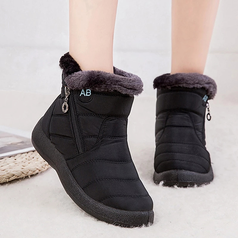 Rimocy Thick Warm Plush Waterproof Woman Snow Boots Women Plus Size 43 Non Slip Platform Ankle Boots Winter Cotton Padded Shoes