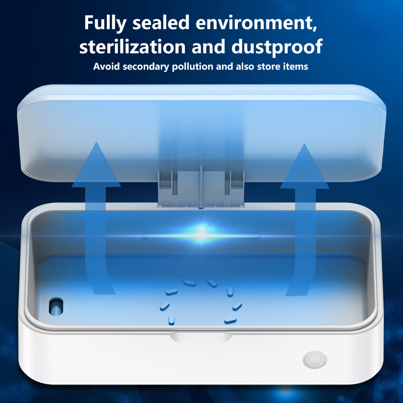 Uvc Led Sterilizer Box Cell Phone Cleaner Mask Ultraviolet Sterilizer Box Portable Automatic Disinfection Box With Aromatherapy
