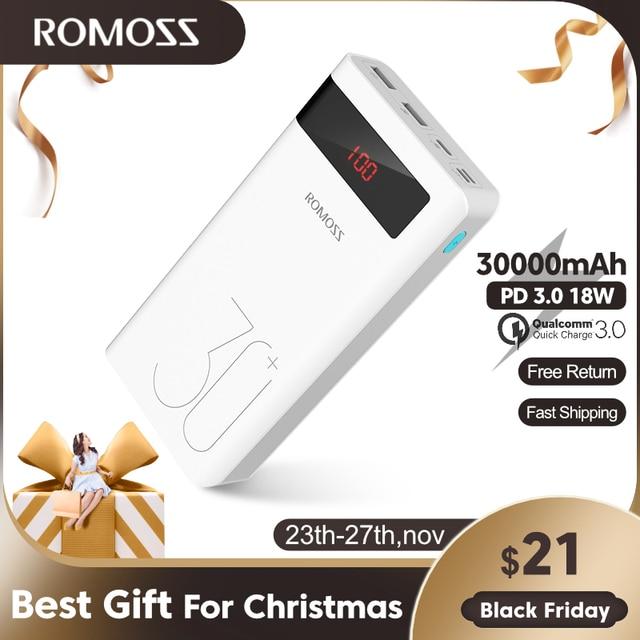 ROMOSS Banco de energía de 30000mAh para móvil, Powerbank PD de carga rápida 3,0, cargador de batería externa portátil para iPhone y Xiaomi