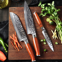 YARENH 73 Layers Damascus Chef Knife Set   3 Pcs Professional Kitchen Knife Set   Dalbergia Wooden Handle   Best Cooking Knives