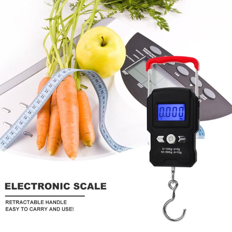 Mini 50kg Digital Fishing Scale LCD Display Weighting Electronic Scale Practical with Hook Necessary Outdoor Fishing Gadgets