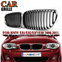MagicKit Front Kidney Grille Grill Chrome Black Racing Grills for BMW 1 Series E87 118i 128i 5 door 2007 2011 Pre facelift LCI