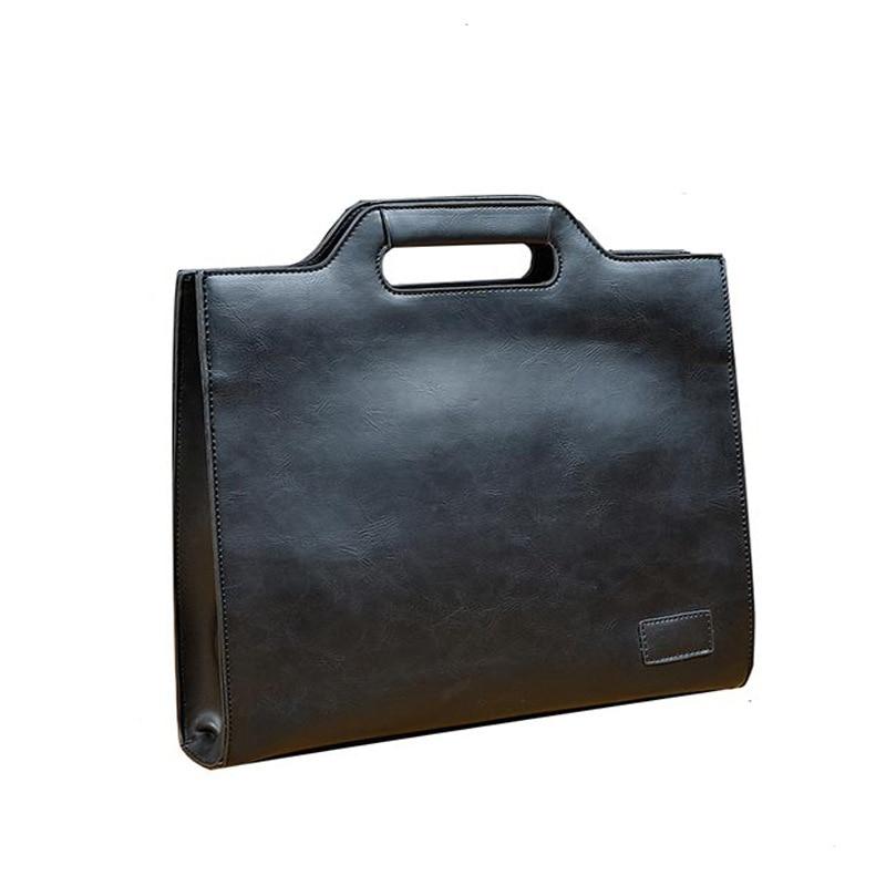 Crazy Horse Leather Man Bag Bussines Black Office Bags For Men Vintage Briefcase Messenger Laptop Handbag Attache Case Work 0005