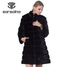毛皮のコートの冬の毛皮のミンクコートとジャケット黒トランス暖かい女性服2019ヴィンテージプラスサイズ7XL
