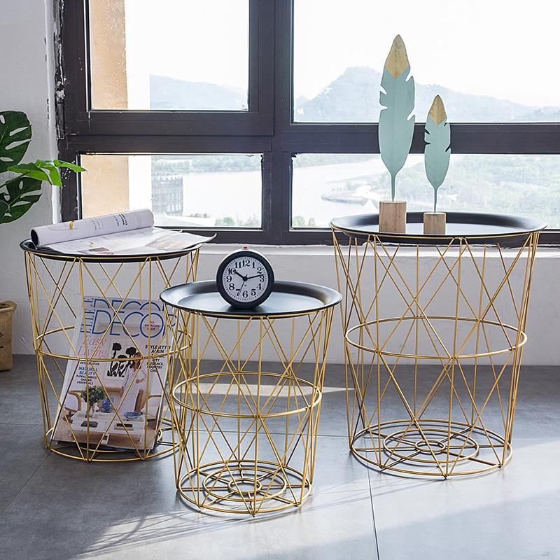 Multifonction Table basse en métal sale panier de rangement thé fruits Snack Service plaque plateau lit salon canapé côté