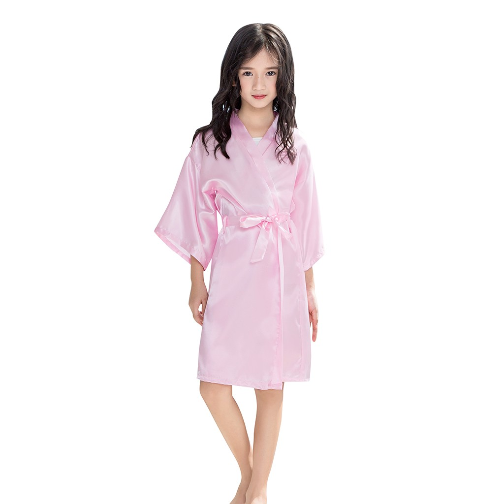 Baby Boys Girls Solid Silk Satin Kimono Robes Bathrobe Toddler Kid Sleepwear Clothes