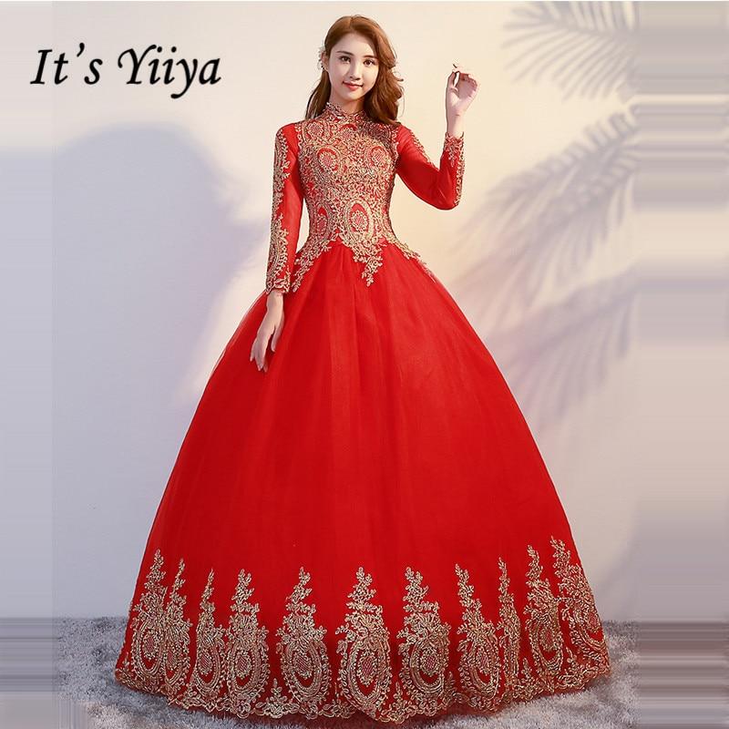 It's YiiYa Wedding Dress 2019 Gold Embroidery Long Sleeve Muslim Wedding Gowns Plus Size Vestido De Novia Free Shipping G095