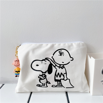 Ins Cute Cartoon Puppy Canvas Pen Bag Concise Printing Student Pencil Case Kawaii Handbag Cosmetic Storage Bag School Stationery j26 kawaii cute moomin canvas pen bag pencil holder storage case school supply birthday gift cosmetic makeup travel