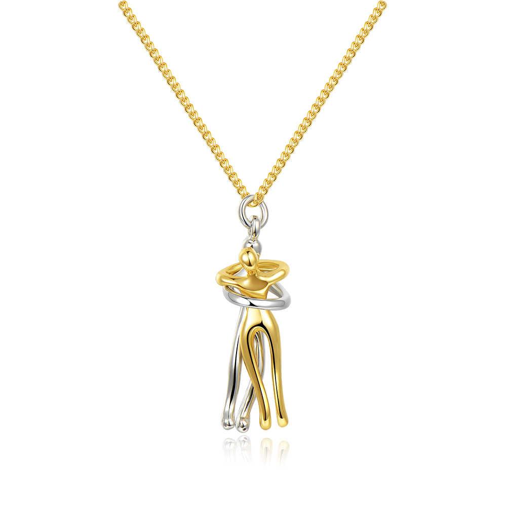 Casal abraçando pingente colar prata aço inoxidável amantes dos homens colares mulheres moda casal colar amor testemunha jóias