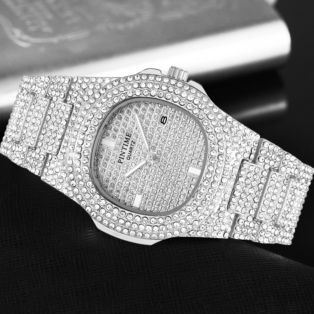 Fashion Women Mens Watches Top Brand Luxury Iced Out Watch Diamond Watch For Men Stainless Steel Business Wristwatch Man Hip Hop