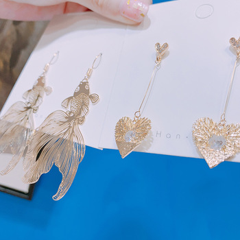 Chinese Style Personality Vintage Goldfish Metal Rhinestones Love Dangle Earrings Fashion Temperament Ladies Jewelry Accessories 3